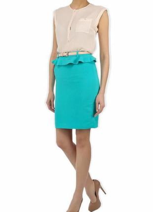 Бирюзовая юбка с баской kira plastinina