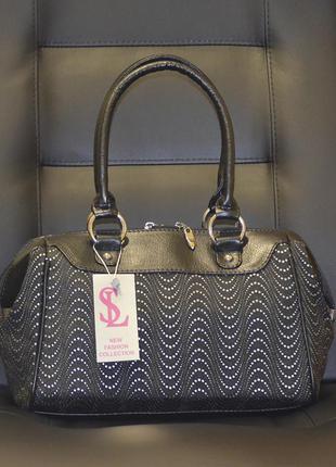 Женская черная сумочка саквояж с принтом волна