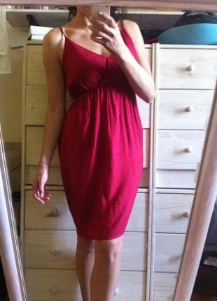 Красивое красное миди платье сарафан на бретелях100% вискоза 10-12