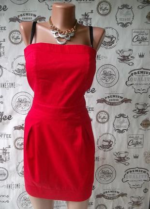 Отличное красное коттоновое платье-бюстье с замком, размер м, сост хор