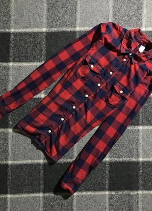 Женская хлопковая рубашка в клетку h&m ( эйч энд эм ххс-хсрр идеал оригинал)
