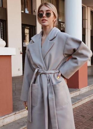 Пальто миди с поясом из смеси кашемира и шерсти