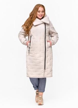 Скидка модная женская куртка одеяло больших размеров бежевая, серая батал