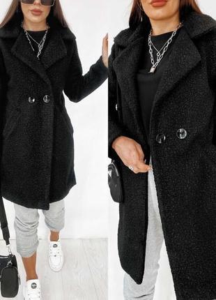 Стильное женское пальто букле (strog-590)