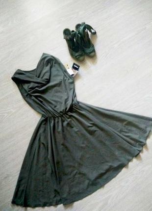Итальянское летнее платье цвета хаки, m-l, 44-48