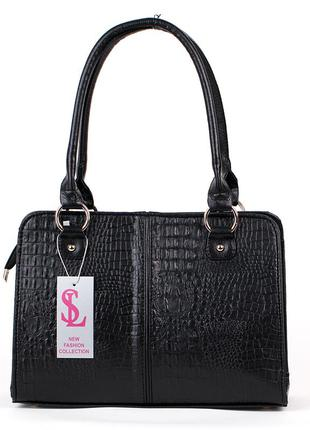 Черная крокодиловая сумка с длинными ручками