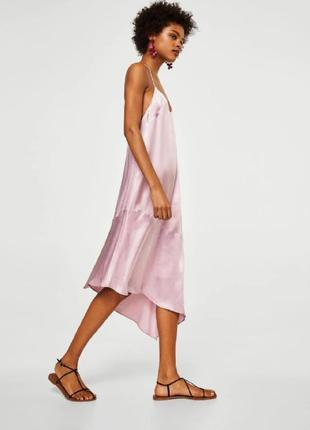 Платье в бельевом стиле комбинация шелковое атласное на бретелях манго mango