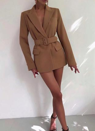 Удлиненный крутой пиджак/платье/жакет с поясом