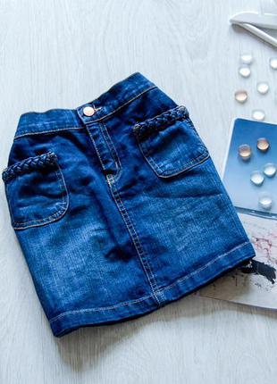 Джинсовая юбочка с косичками на кармашках f&f