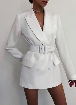 Эффектный удлиненный двубортный пиджак/платье/жакет с поясом