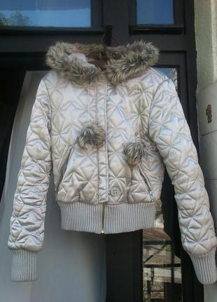 Куртка серебряная, стеганая «звезды»