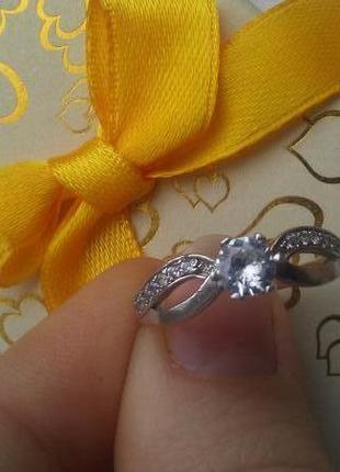 Серебряное кольцо серебро 925 р.19 родий.