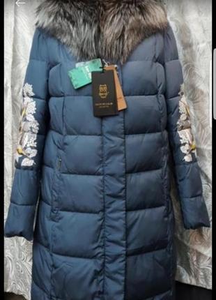 Пальто пуховик snow owl c капюшоном и натуральным мехом чернобурки
