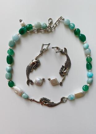 Набор с русалками и натуральными камнями: жемчуг, хризолит и аквамарин
