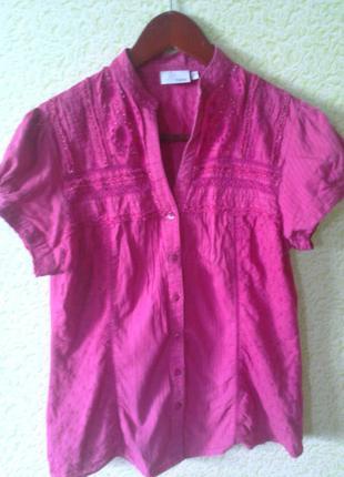 Блузка блузка next хлопок с кружевом и бисером next m-l