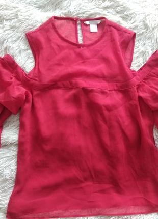 Шифоновая красная блуза размер 36