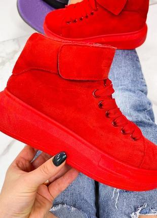 Ботиночки  спортивные,хайтопы,молодежные, цвет красный