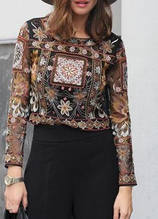 Очень красивенная блуза,кофточка,вышивка(бисер) ручной работы,в этно стиле, zara