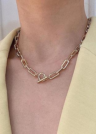Ожерелье колье чокер цепочка золотистая с подвеской кольцо