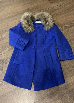 Пальто-пиджак с мехом, синие короткое шерстяное пальто, пиджак шерстяной с мехом
