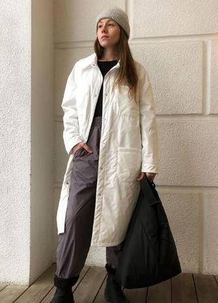 Пальто рубашка из плащевки эксклюзив куртка миди
