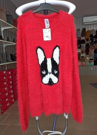 Свитер женский, красный свитер c&a