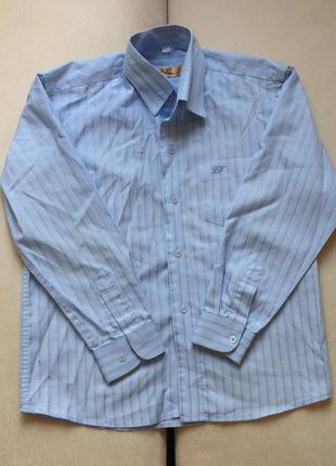 Школьная голубая рубашка l&viktor 128 см рубашка в полоску