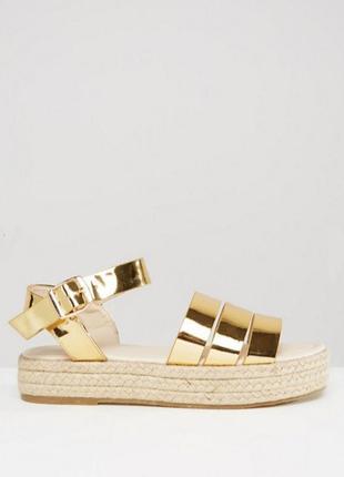 Трендовые золотые сандалии asos на толстой подошве, эспадрильи, 40 размер