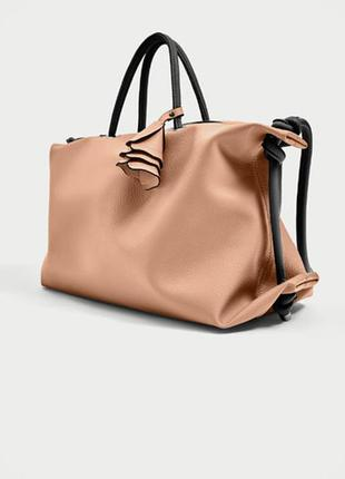 Шикарная сумка шоппер пудрового цвета zara