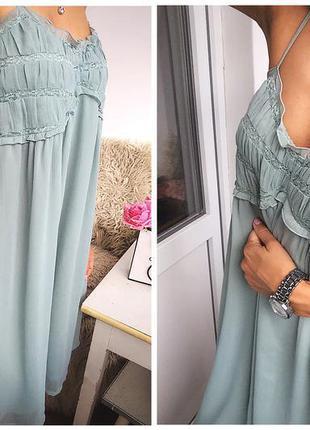 Невероятное платье дымчато мятное в бельевом стиле