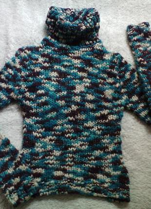Яркий меланжевый свитер крупной вязки jennyfer