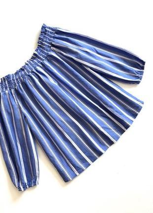 Качественная хлопковая блузочка голубая в белую полоску