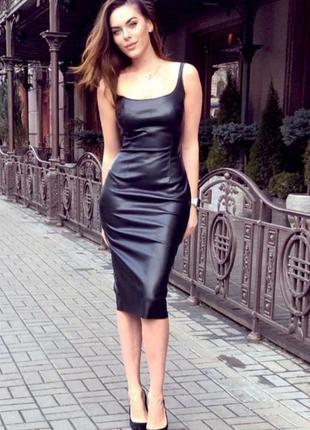 Платье из итальянской эко-кожи на замшевой основе