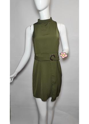 Шикарное оливковое платье missguided. пояс, хаки