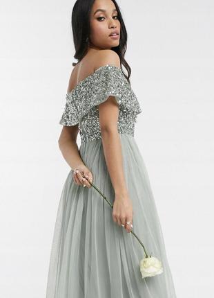 Шифоновое платье, топ с пайетками maya