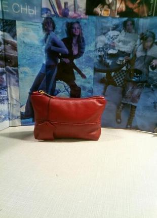 Маленькая косметичка в сумочку,марсала,из натуральной кожи.