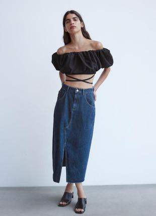 Джинсова спідниця міді / джинсовая юбка миди premium 70s zara