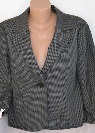 Брендовый серый пиджак жакет блейзер h&m вискоза принт гусиная лапка