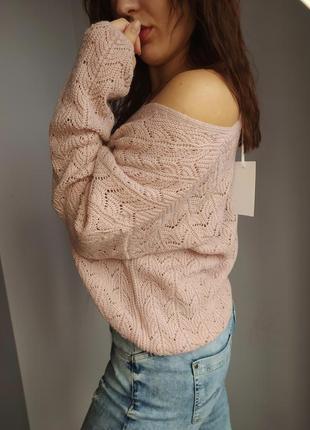 Пудровый свитер кофта из пряжы оверсайз