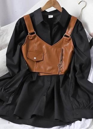 Платье-рубашка с топом