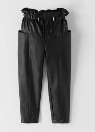 Стильные штаны на девочку (эко кожа) 116 см