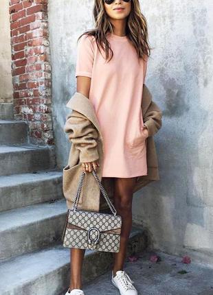 Персиковое нежное платье футляр