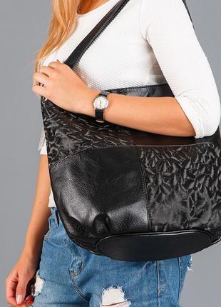 Черная сумка мешок женская на плечо с ручками мягкий вместительный шоппер