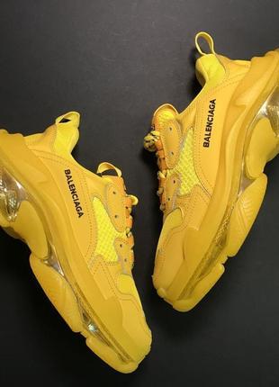 Ярко желтые женские стильные яркие кроссовки(triple s full yellow)
