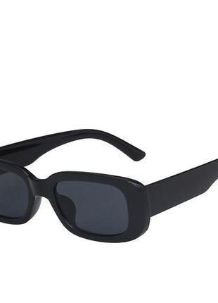 Модные солнцезащитные очки черные узкие ретро очки 70034 фото