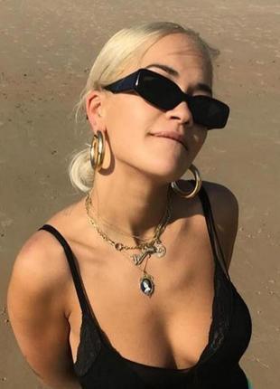 Модные солнцезащитные очки черные узкие ретро очки 70032 фото