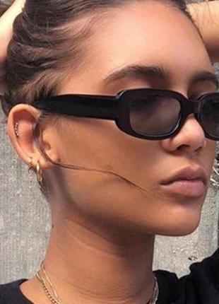 Модные солнцезащитные очки черные узкие ретро очки 70033 фото