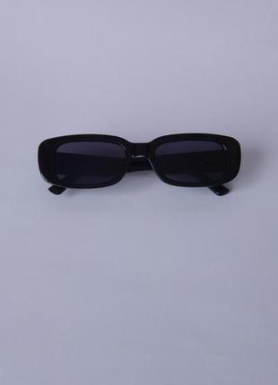 Модные солнцезащитные очки черные узкие ретро очки 70037 фото