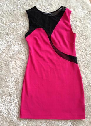 Розовое короткое  платье 👗 футляр облегающее чёрные вставки из сетки секси