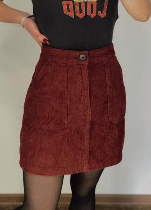 Вельветовая юбка. базовая юбка бордо. базова спідниця. вельветова спідниця